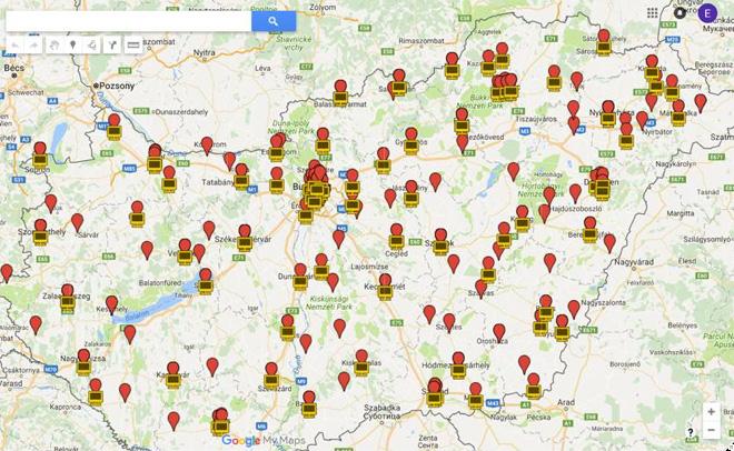 Az alábbi térképen piros jelzéssel az látszik, ahol 2015-ig volt IT képzés. Sárga jelzéssel pedig az, ahol 2016 után is maradt még IT képzés a KIR – Hivatalos Intézménytörzs adatok alapján.